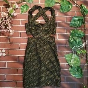Sexy black & gold bodycon club dress, sz sm